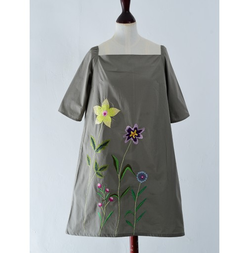 A LINE EMBROIDERED COTTON DRESS