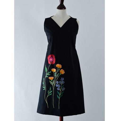 A LINE COTTON EMBOIDERED DRESS