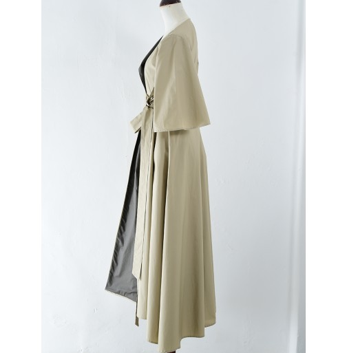 LONG COTTON WRAP DRESS WITH CONTRAST...