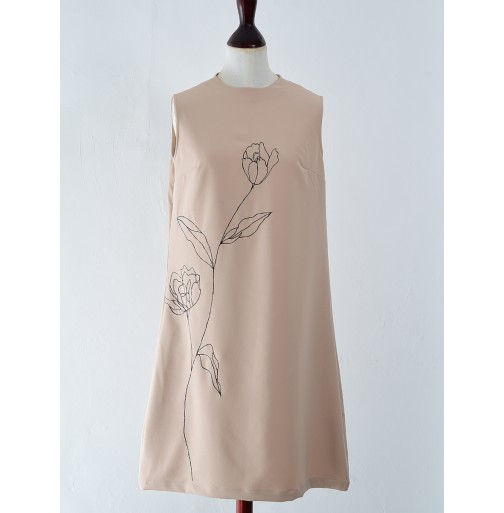 A LINE MIDI DRESS WITH EMBROIDERED...