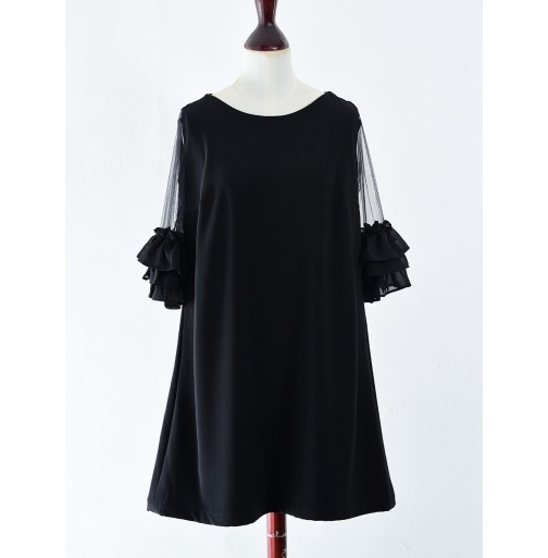 A LINE DRESS WITH FRILL SLEEVES
