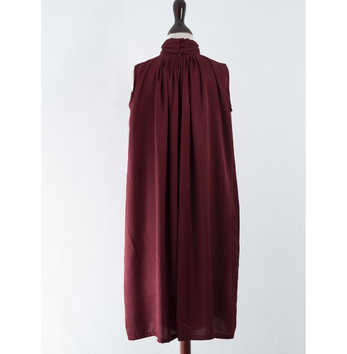 RUSHED HIGH NECK DRESS